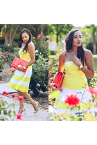 No Rest for Bridgette bracelet - gold Lulus shoes - yellow Rent the Runway dress