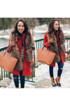 white JCrew sweater - tan madden girl kohls boots - red Ellen Tracy coat