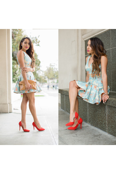 floral Forever Unique dress - bronze vintage bag - red Charlotte Russe heels