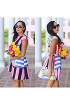 black Charlotte Russe shoes - white striped kate spade dress - bronze Lulus bag