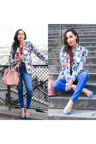 light blue JustFab shoes - blue JustFab jeans - white floral JustFab blazer