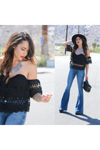 black asos hat - blue Hudson jeans - black Lulus bag - Lulus necklace