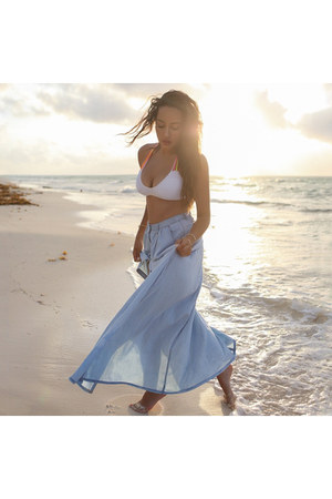 white bikini YMI Jeans swimwear - light blue Lulus skirt