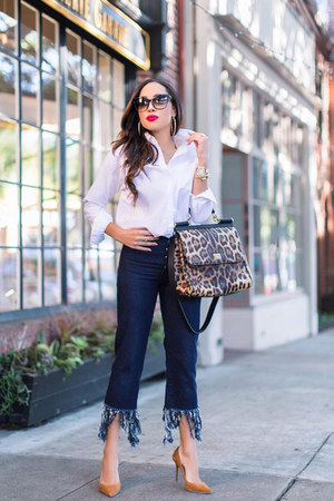 navy fringe asos pants