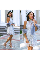 white Lulus dress - nude asos shoes - silver stole Boohoo scarf