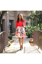 peach floral ted baker skirt - charcoal gray Marciano shoes