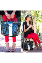 jeans - bag - sunglasses - cape - heels