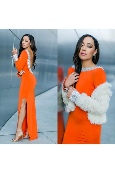 B Brian Atwood shoes - orange asos dress - off white faux fur Lucy Paris jacket
