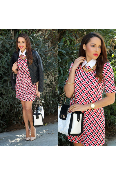 red print Charlotte Russe dress - nude Charlotte Russe shoes