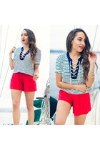 red Sheinside shorts - white striped Forever 21 top - H&M earrings