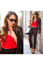 necklace - jacket - bag - sunglasses - pants - blouse