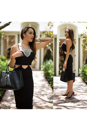 black Lulus dress - leopard print Nine West shoes - black Prada bag