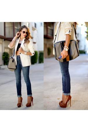 cream vintage blazer - dark brown Christian Louboutin shoes - navy Levis jeans