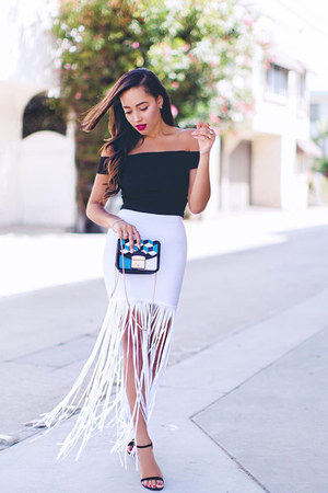 white fringed Wow Couture skirt