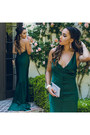 Silver-shoedazzle-shoes-forest-green-asos-dress-silver-clutch-icing-bag