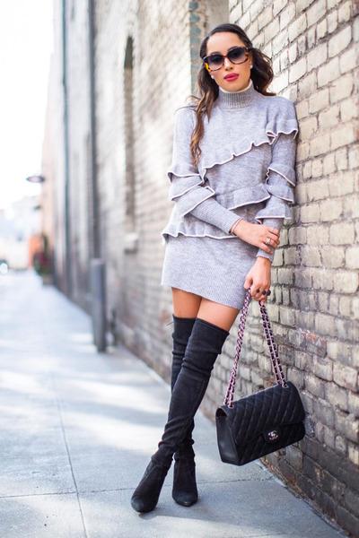 silver sweater dress asos dress