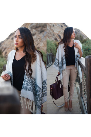 silver poncho Dynamite Clothing coat - nude Charlotte Russe shoes