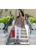camel leopard print Fredericks top - black Gucci shoes - white Lublu jeans