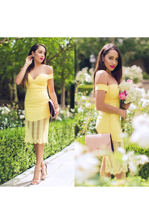 light yellow lace asos dress - nude Charlotte Russe shoes