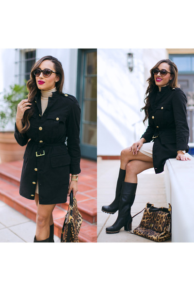 black Sorel boots - black trench coat Hudson coat - beige Lex & Mila sweater