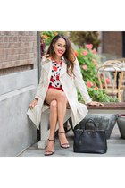 eggshell New York & Co x Eva Mendez coat - black stuart weitzman shoes