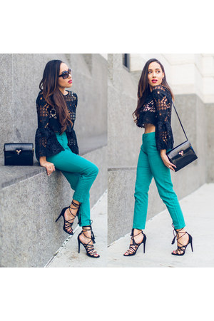 black Alexis top - black vintage purse - turquoise blue Zara pants