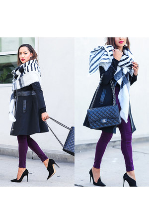 black Zara shoes - purple Hudson jeans - black Bebe jacket - black Lulus sweater