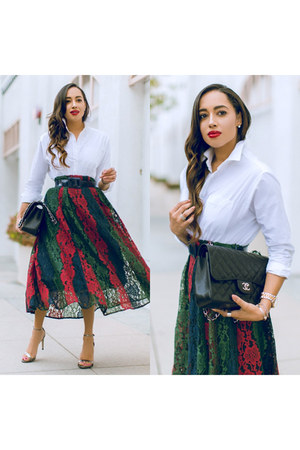 dark green Sheinside skirt - silver Steve Madden shoes - white JustFab shirt