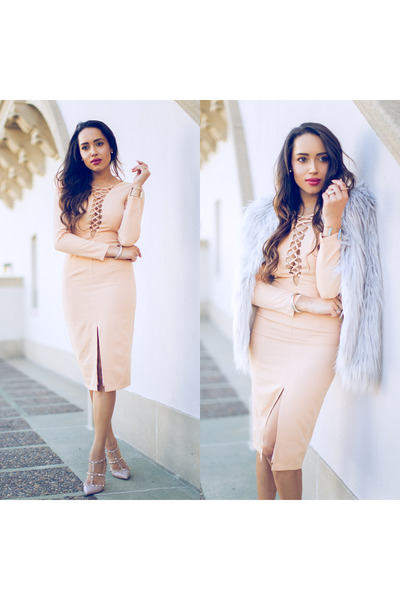silver Chicwish jacket - nude Valentino shoes - neutral Solace London dress