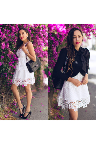 black Christian Louboutin shoes - white lace Sheinside dress