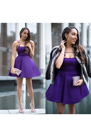 purple Lulus dress - silver Lulus shoes - heather gray faux fur Via Spiga coat