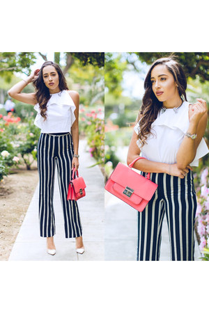 black striped ann taylor pants - white gianvitto rossi shoes