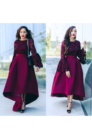 magenta Alexia Maria skirt - black LK Bennett London shoes