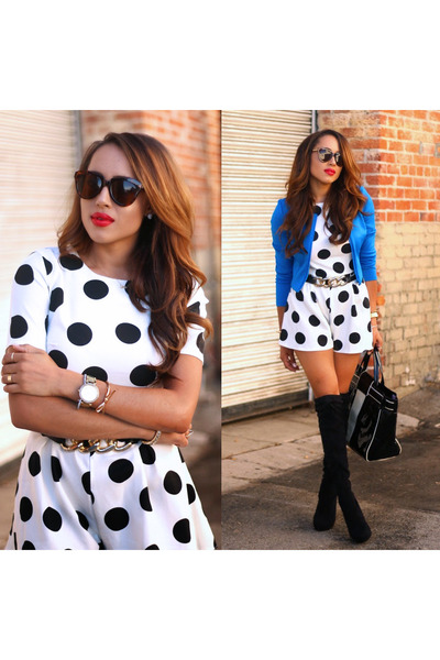 white polka dots asos romper - black Charles David boots - blue Bebe jacket