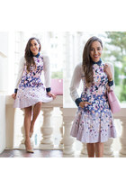light pink floral Maggy London dress - nude Charlotte Russe shoes