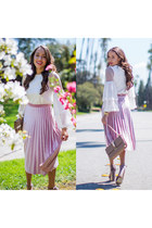 pink JustFab shoes - light pink Valentino bag - pink asos skirt - white asos top