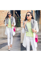 white gianvitto rossi shoes - white rag & bone jeans - white BCBG jacket