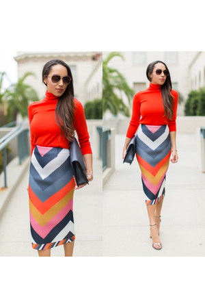 orange chevron print asos skirt - silver Steve Madden shoes