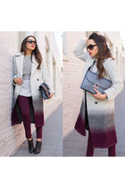 silver ombre asos coat - black Charlotte Russe shoes - silver Wet Seal sweater
