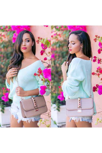 neutral Valentino bag - white soludos shoes - light blue Boohoo sweater
