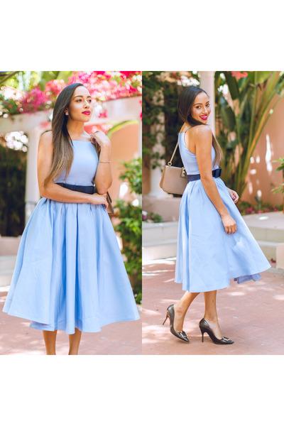 dark gray kate spade shoes - light blue Chi Chi London dress
