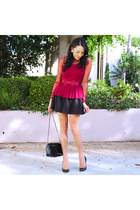 ruby red Forever 21 top - black Gucci shoes - black gianni bernini bag