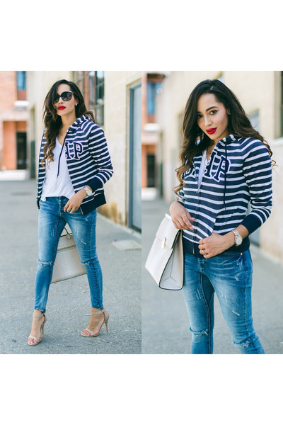 navy Gap sweater - nude Charlotte Russe shoes - blue One Teaspoon jeans