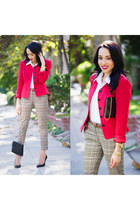 beige plaid H&M pants - black Gucci shoes - hot pink vintage jacket