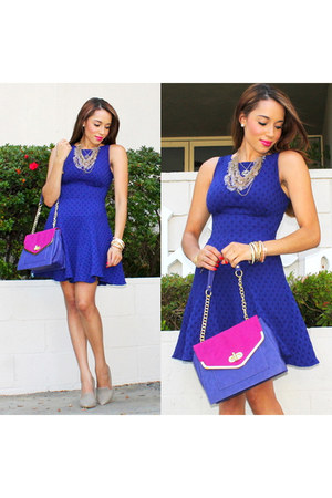 Charlotte Russe bracelet - nude shoemint shoes - blue via asos closet dress