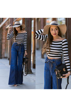 neutral Lack of color hat - navy Seven For All Mankind jeans - black Lulus bag