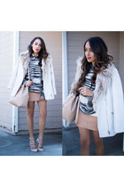 white Forever 21 coat - nude Lulus shoes - heather gray Forever 21 sweater