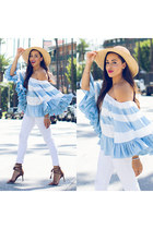 light blue striped Boohoo top - brown ann taylor shoes - white rag & bone jeans