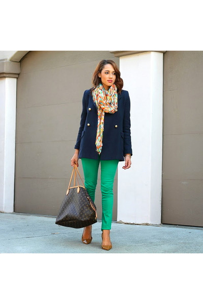navy Paul and Joe coat - bronze via tj maxx Tahari shoes