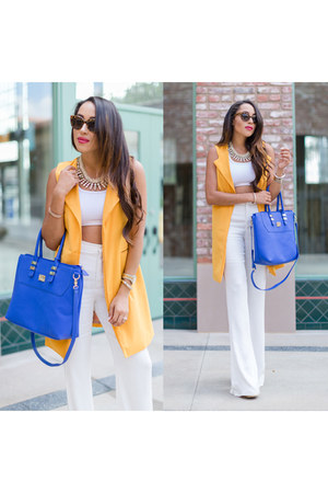 light orange shein vest - white Charlotte Russe shoes - blue JustFab bag